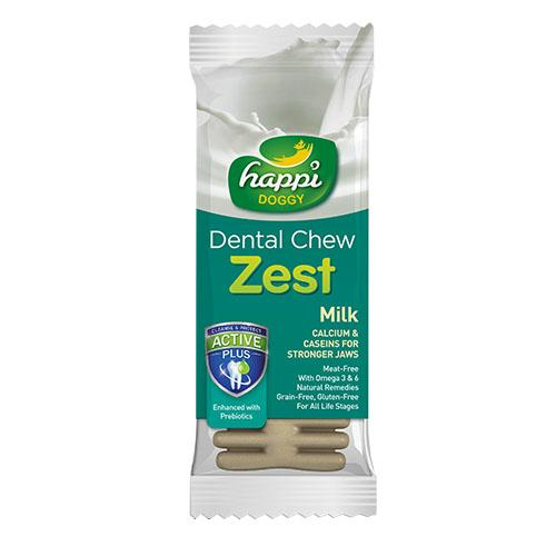 "50 X Happi Doggy Dental Chew Zest Milk 4"" 25g By Theonepet."