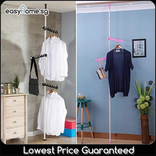 2501 Korean Standing Pole Clothes Rack Adjustable Hanger Bar Drying Shelf Cheap