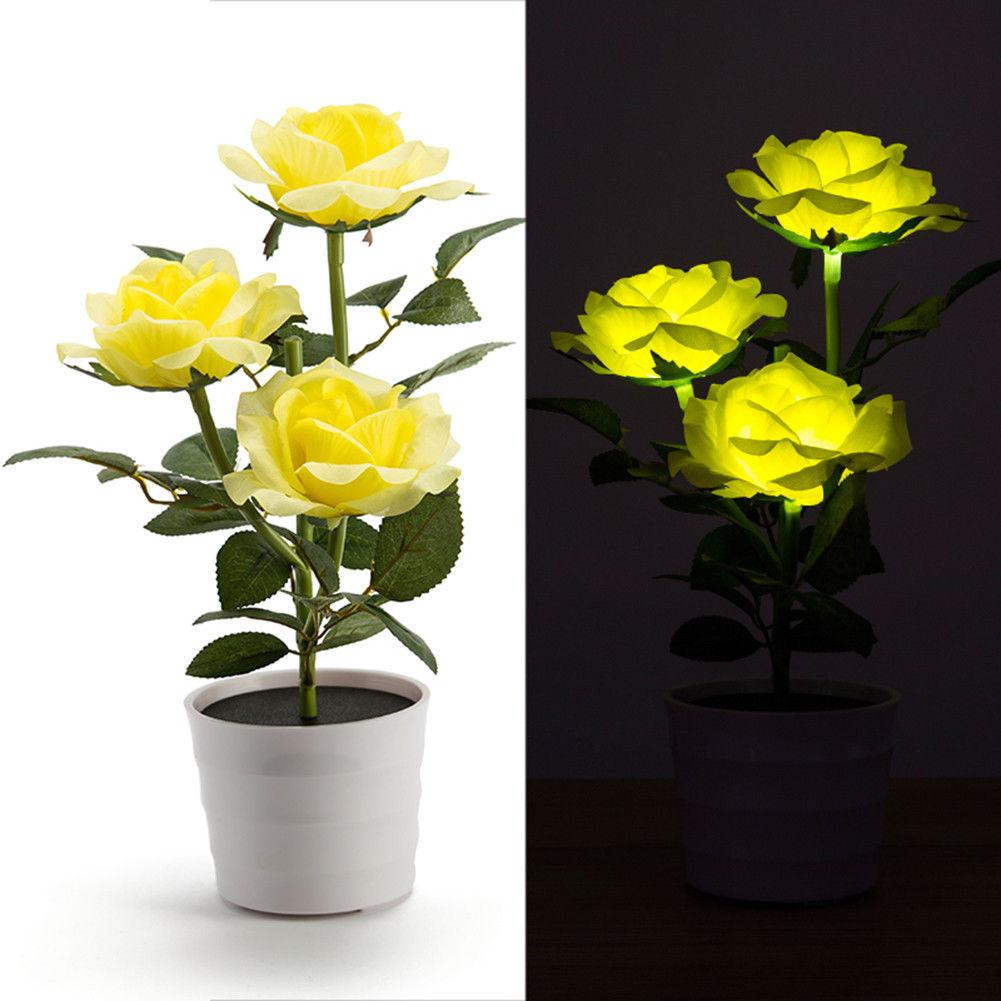 Solar Power 3 LED Rose Flower Lamp Landscape Night Light Sensor Lamp Home Decor