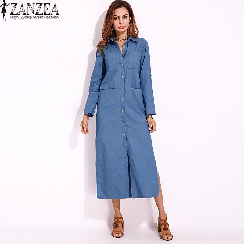 Sale S 5Xl Zanzea Women Long Sleeve Buttons Down Shirt Dress Denim Blue Split Asymmetrical Long Dress Plus Size Intl Online China