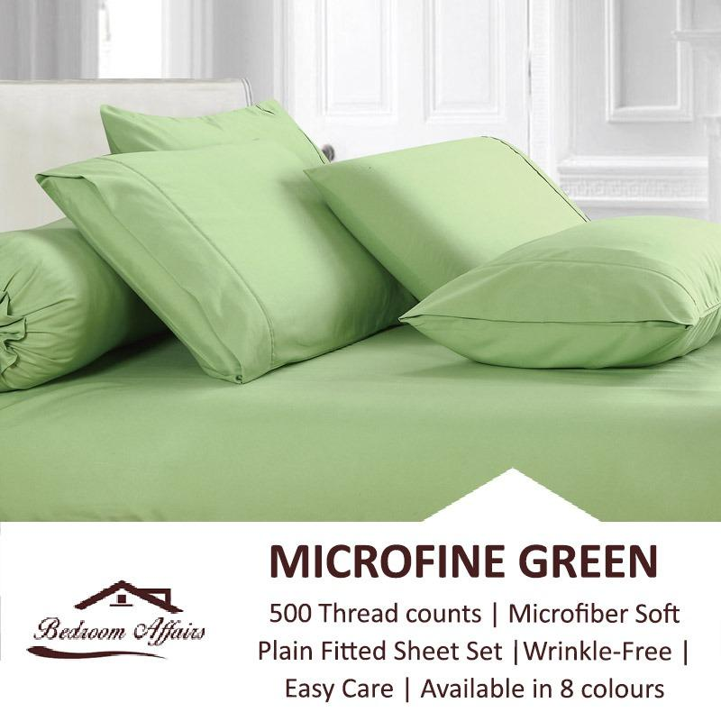 Shop For Microfine Green Fitted Sheet Set