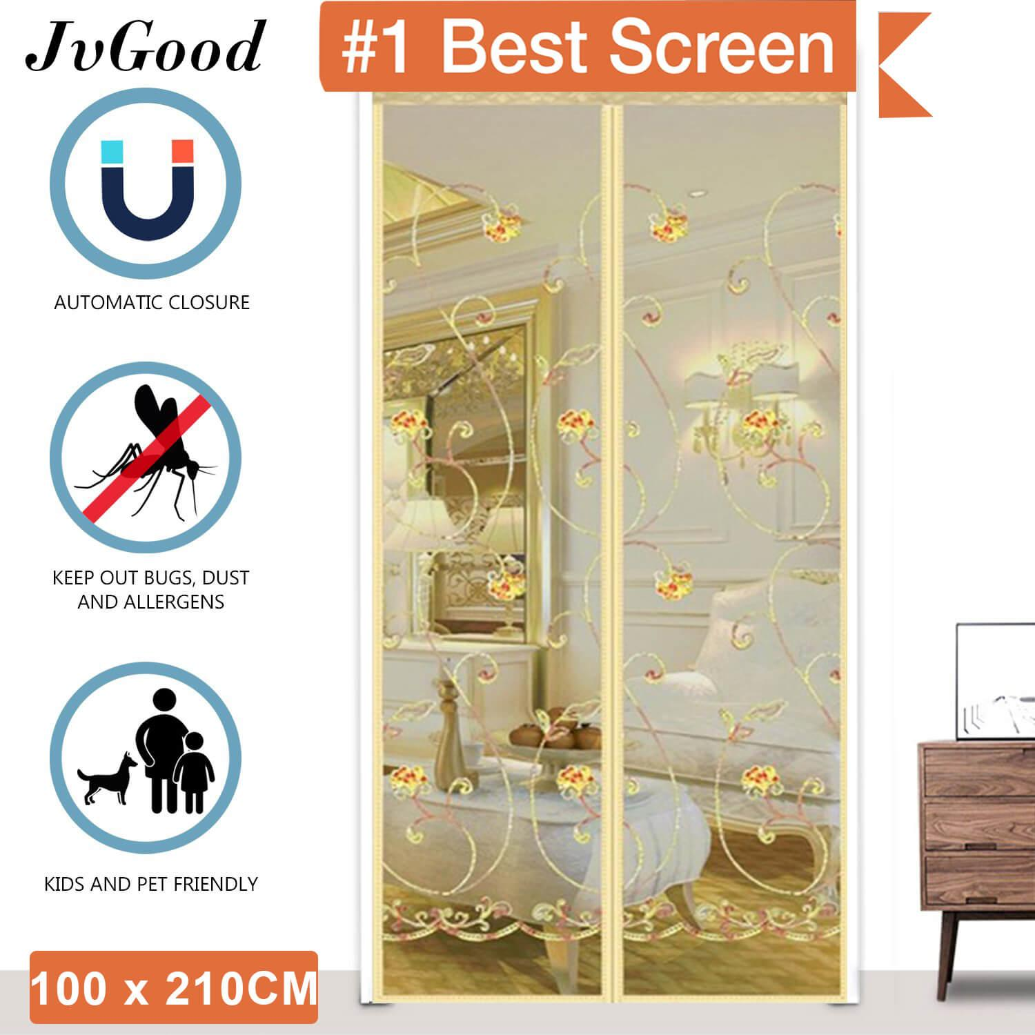 """JvGood Magnetic Screen Door with Heavy Duty Mesh Curtain Full Frame Velcro Mosquito Door Curtain Hand Free Close Open Automatically Bugs Off Pets Friendly Fit Door (100 x 210cm/39 x 83"""")"""