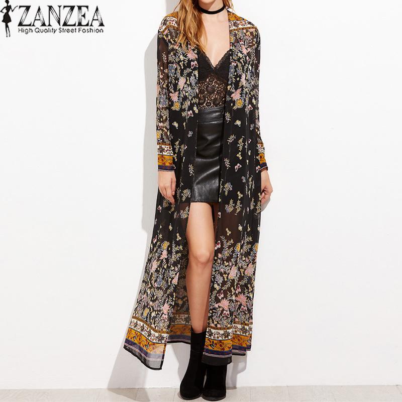 ZANZEA Vintage Womens Long Sleeve Boho Floral Printed Chiffon Kimono V-Neck Summer Beach Maxi