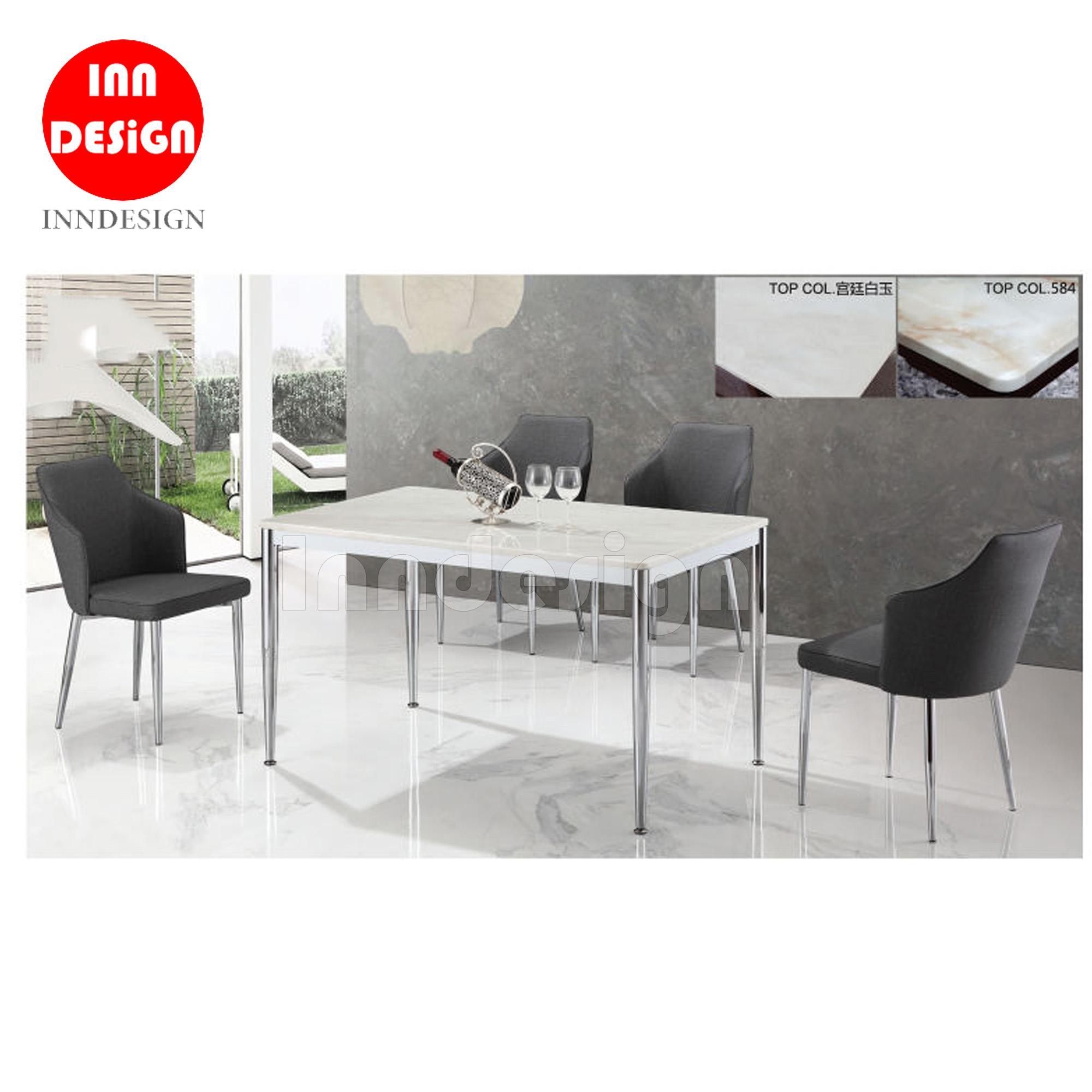 Alba 1+4 Marble Table Dining Set (Black)