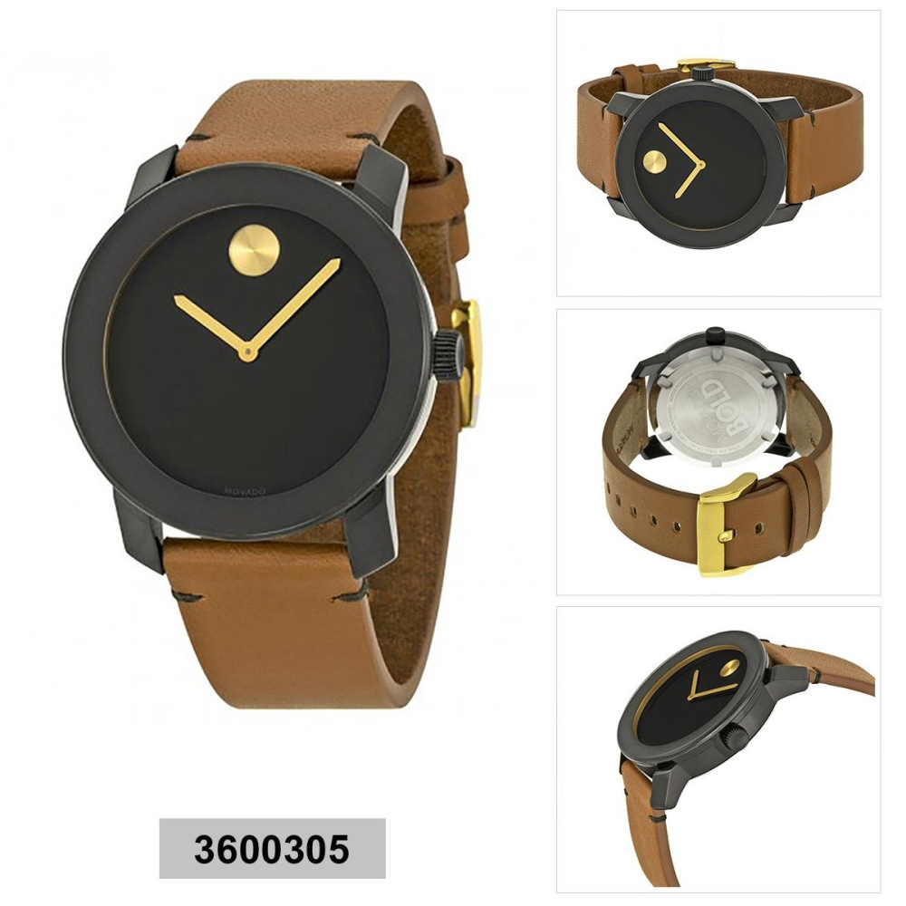 75e8db4d0 Movado Movado Bold Brown Stainless-Steel Case Leather Strap Mens 3600305