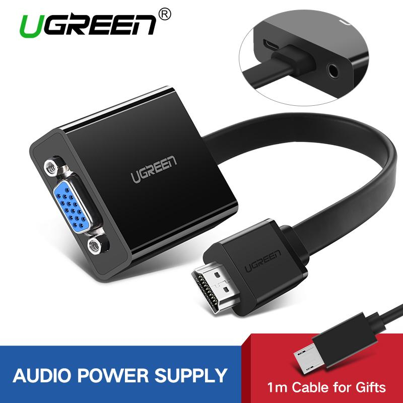 Ugreen Hdmi To Vga Adapter Digital To Analog Video Audio Converter Cable Hdmi Vga Connector For Xbox 360 Ps4 Pc Laptop Tv Box-Black By Ugreen Flagship Store