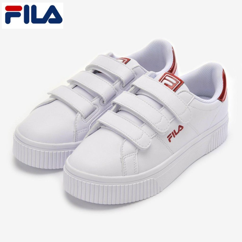 c44cd0803971 FILA Court Deluxe Bold Shiny VC White Red Velcro Shoes FS1SIA1202X