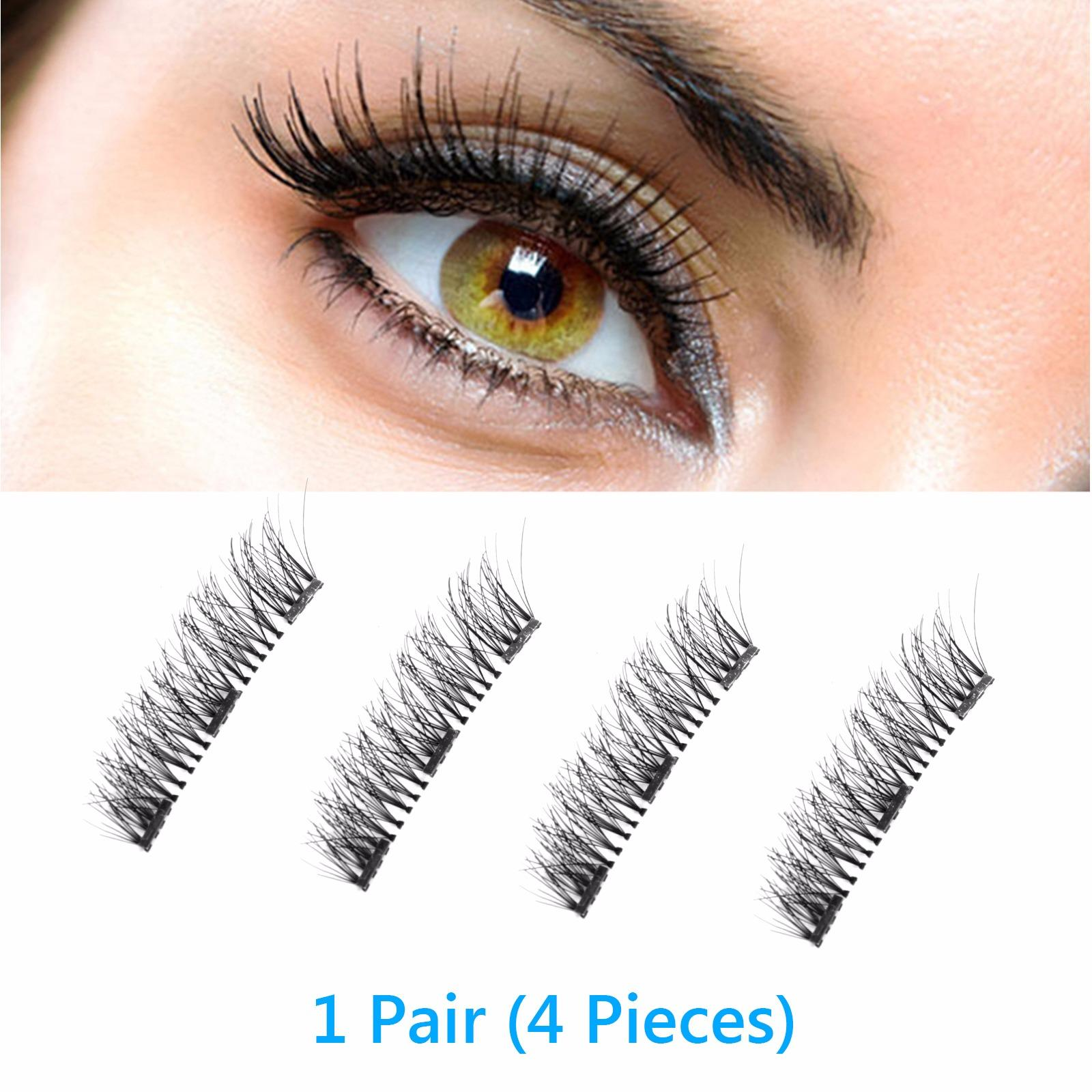 Magnetic Eyelashes False, 4pcs/pair Magnetic 3d Eyelashes Double Handmade Natural False Long Eye Lash Reusable(thred Magnet Eyelashes False) By Wripples.