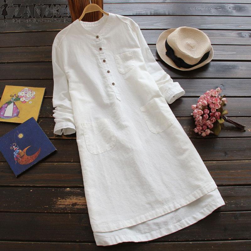 Zanzea Long Top Solid Blouse Shirt Dress Women Long Sleeve Pockets Buttons Dress By Zanzea Official Store.