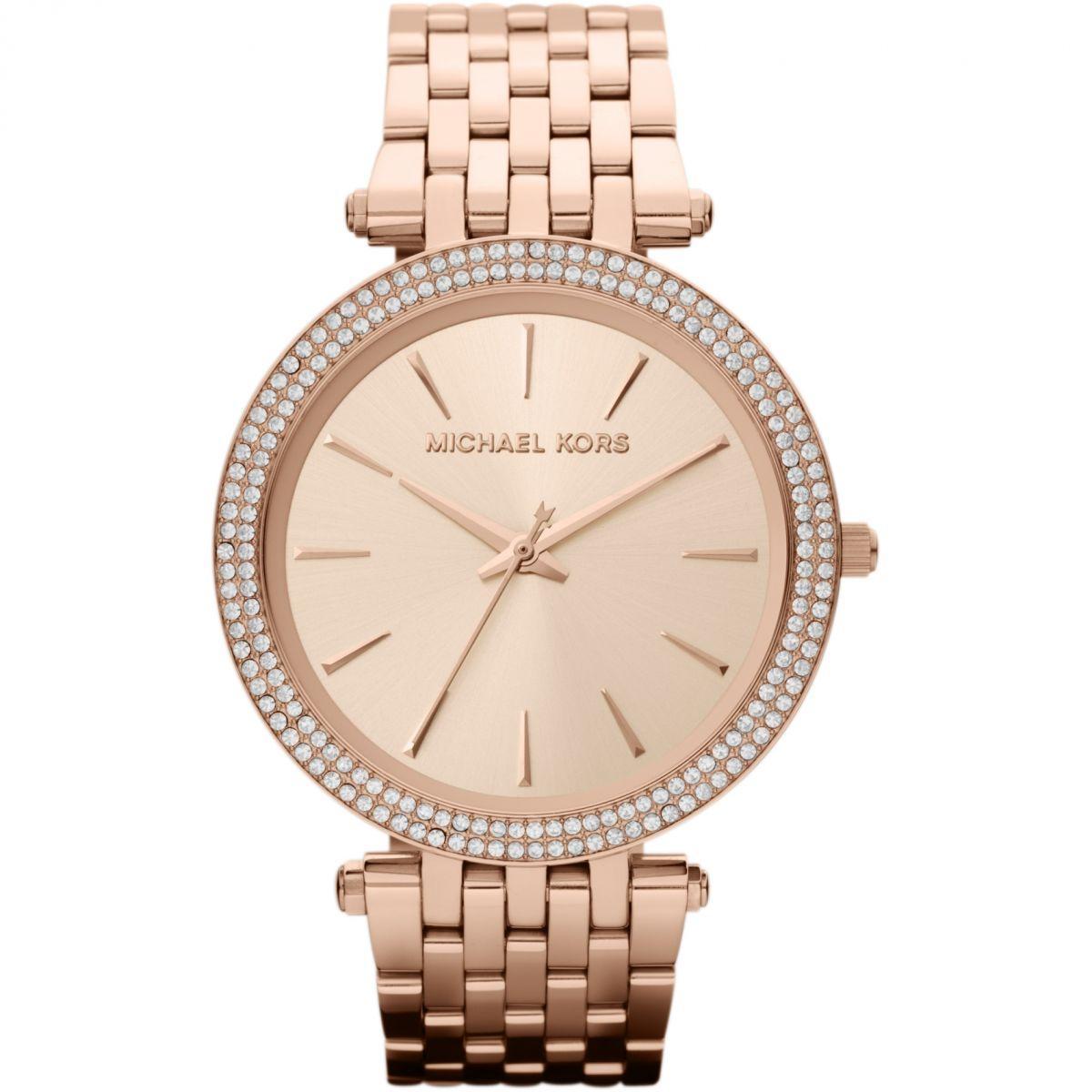 99927eccf6b55 Michael Kors Darci Glitz Rose Gold Dial Pave Bezel Ladies Watch 39mm MK3192