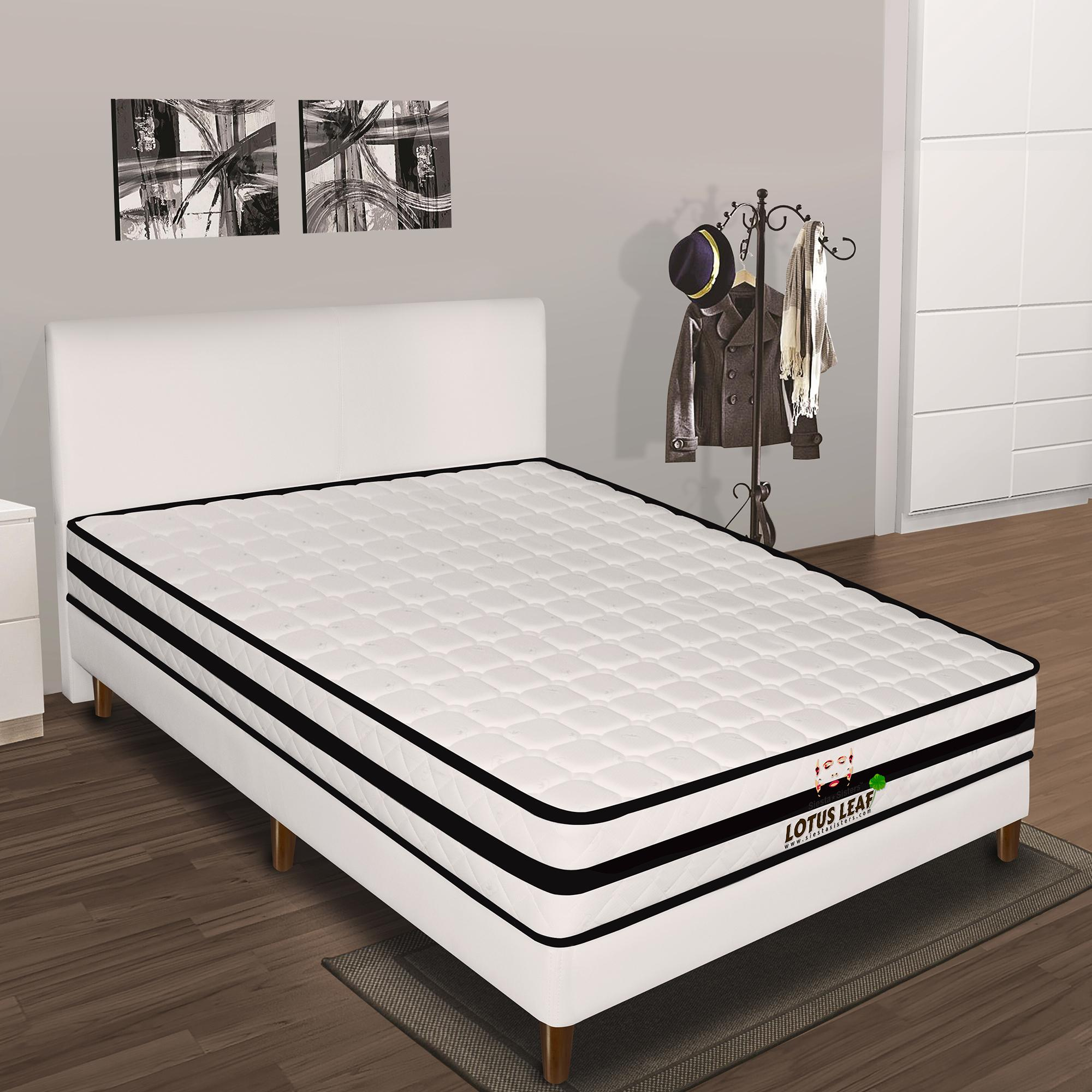 Lotus Leaf Mattress 20cm with Bed Frame with hard wooden legs