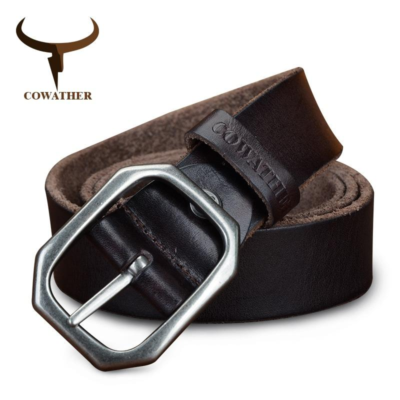Cowather Men Belt Top Full Grain 100 Cow Leather Belt With Single Pin Buckle Waist Belts For Men Vintage Casual 100 130Cm Style Male Strap Width 3 2Cm Craftsmanship Coffee Belt Reviews
