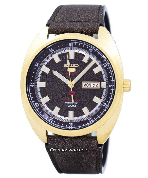 Seiko 5 Sports Limited Edition Automatic Men's Brown Leather  Strap Watch SRPB74K1