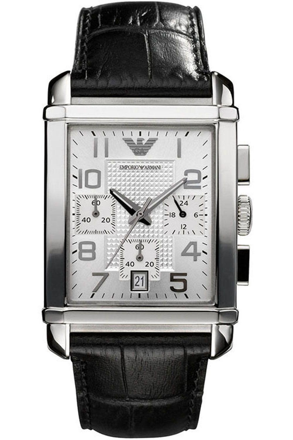 [new] Emporio Armani Mens Black Leather Strap Chronograph Watch 40mm Dial Ar0333 By Watch Centre.