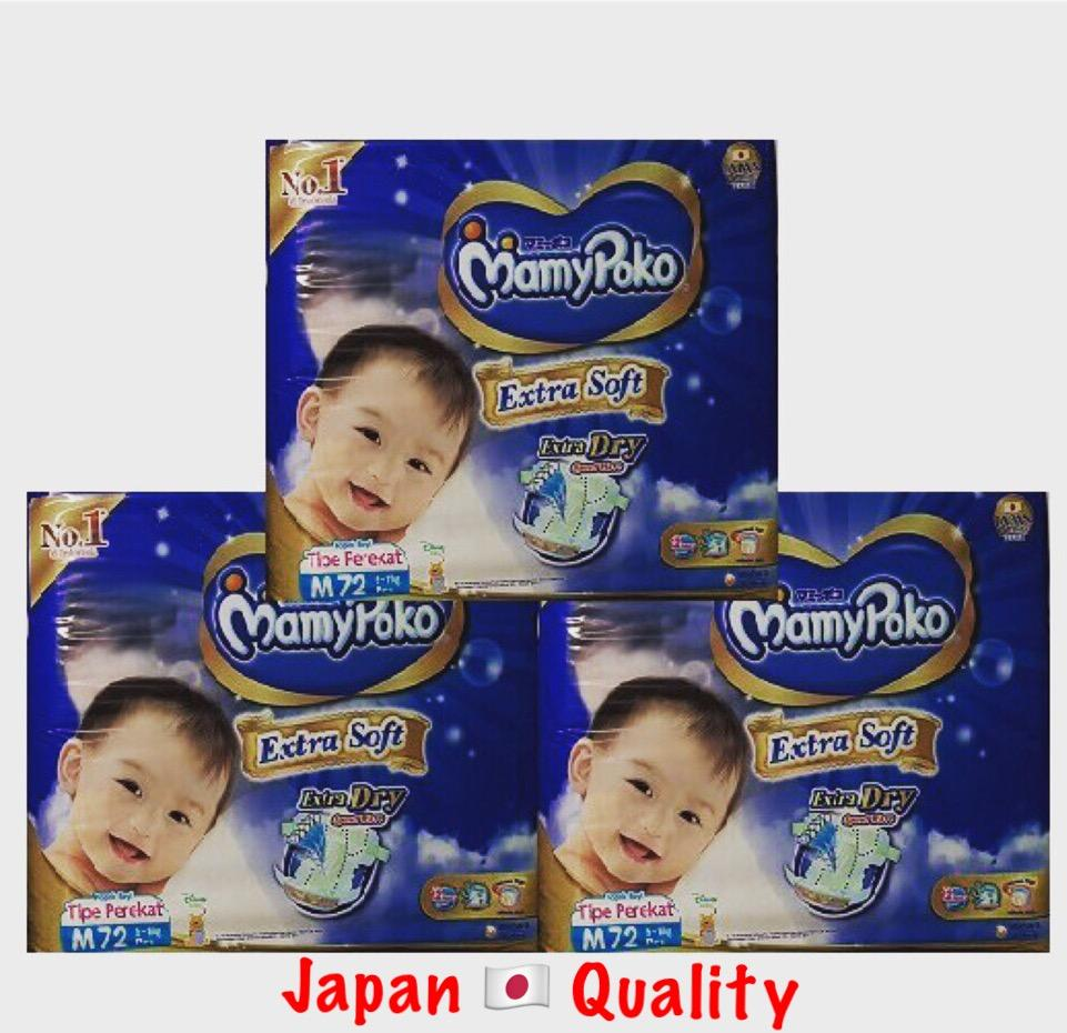 Wholesale Mamypoko Extra Dry Soft Diapers Carton Deal Size M 72 X 3 Jambo Packs