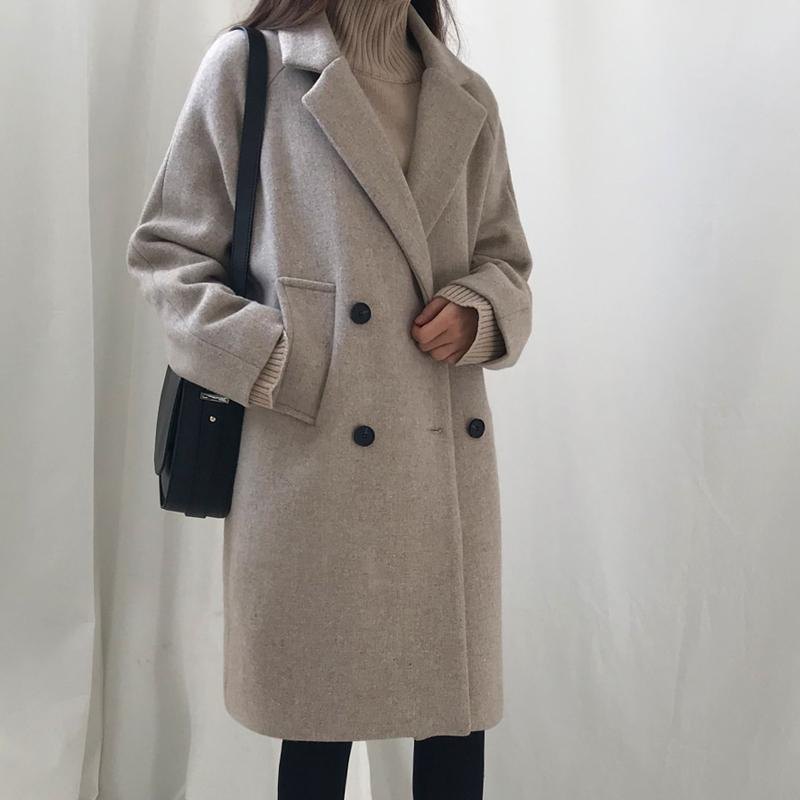 2018 Autumn Winter New Women Loose Woolen Coat Long Horns Buckle Wool Jackets Overcoat - Intl By Vpms Store.