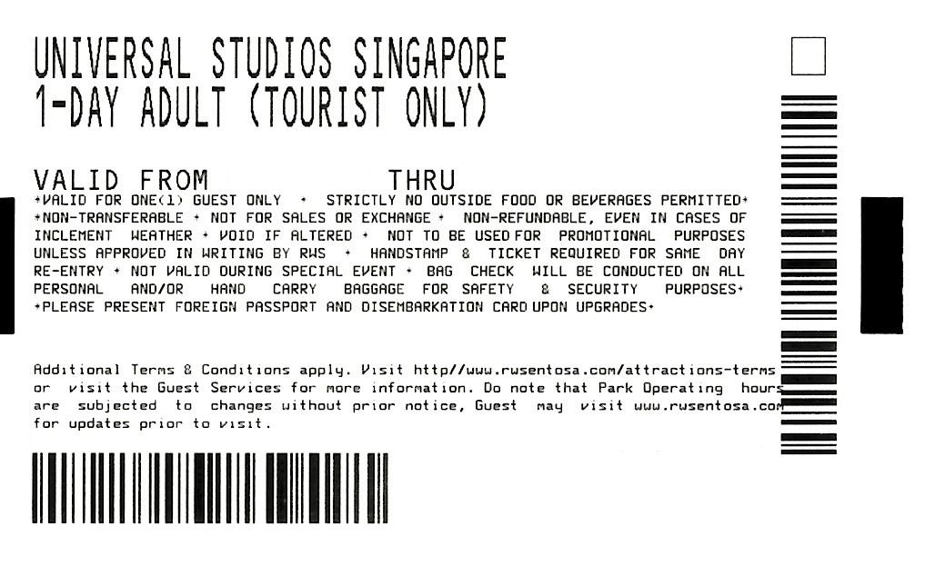 1 Universal Studio Singapore (USS) Physical Ticket (Adult)