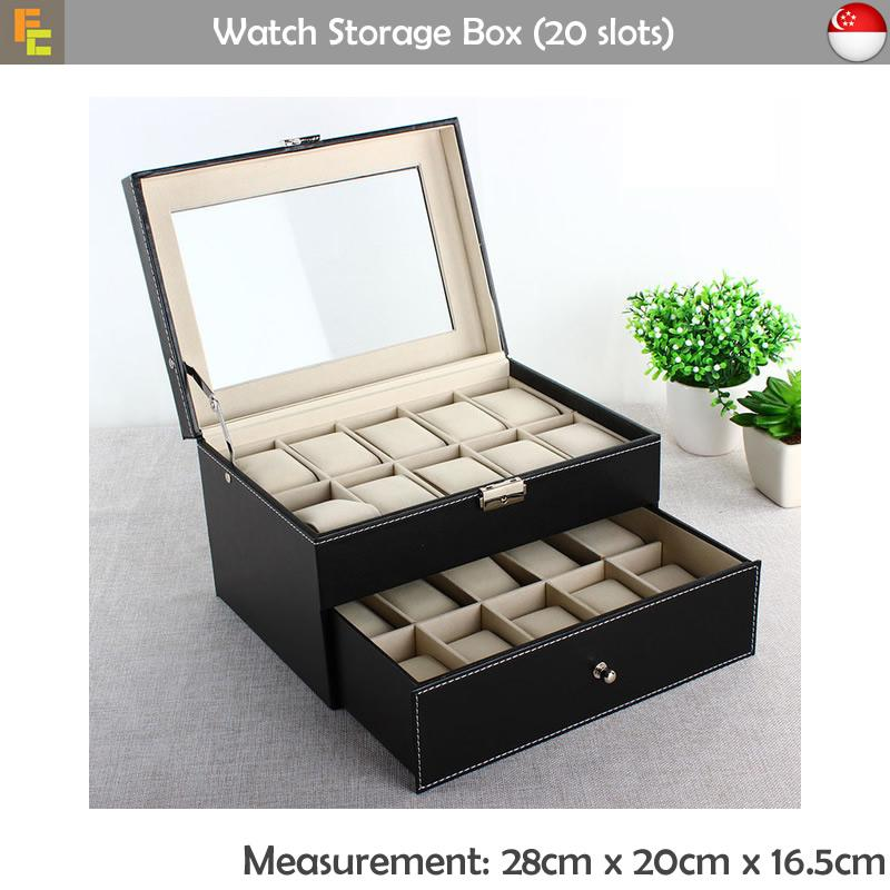 Review Premium Pu Leather Watch Storage Box 20 Slots Funky Chargers On Singapore