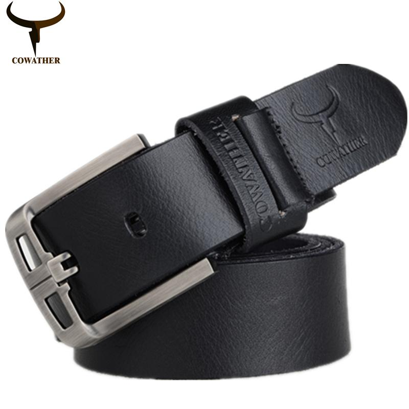 Buy Cheap Cowather Men Belt Ratchet Top Leather Belts For Men Full Grain Top 100 Cow Genuine Leather Waist Belts With Alloy Pin Buckle Wide 1 1 2 Trims To Fit