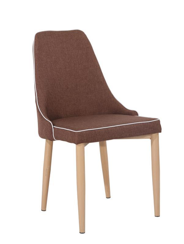 Brown Fabric Low Back Dining Chairs