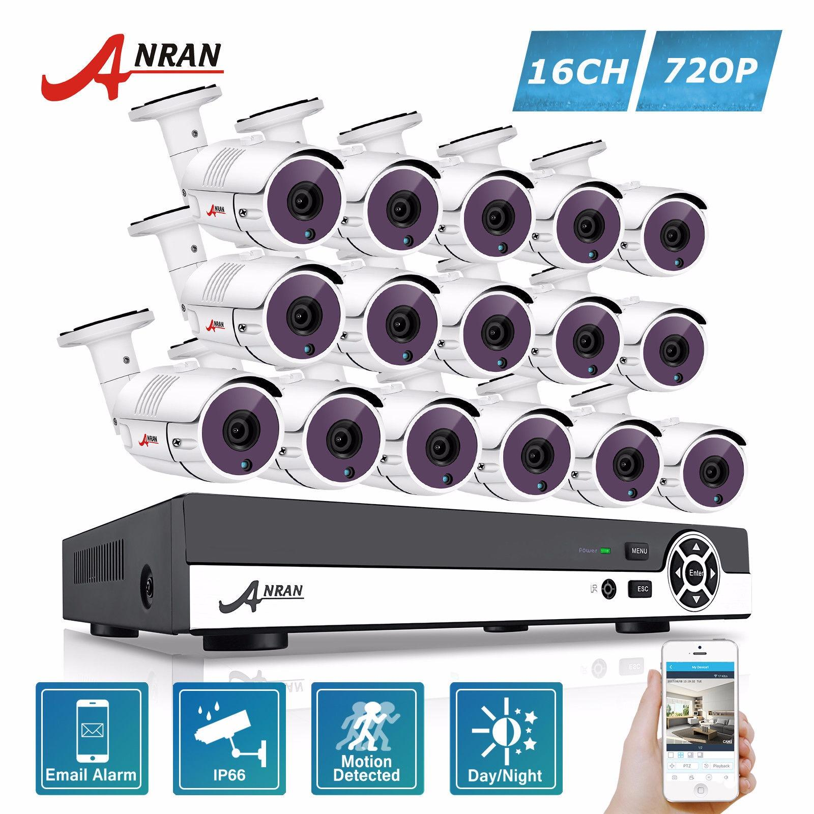 Anran 16Ch 1080N Hdmi Dvr Outdoor Surveillance System Digital Video Recorder Ahd 720P 1800Tvl Ir Home Security Camera Cctv Kit Sale