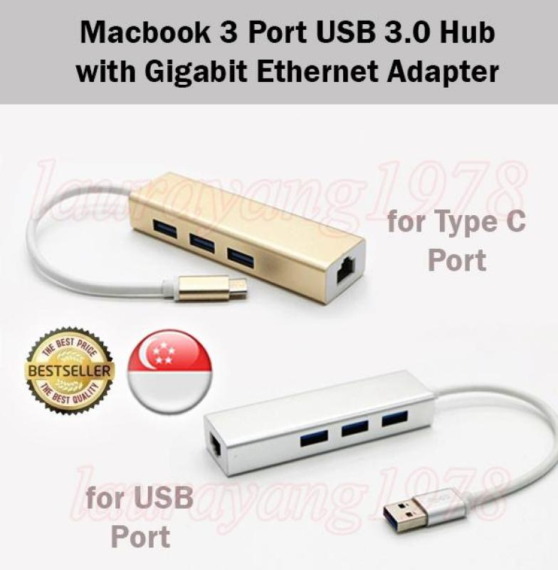 Macbook 3 Port USB 3.0 Hub with Gigabit Ethernet Adapter Type C and USB Ports