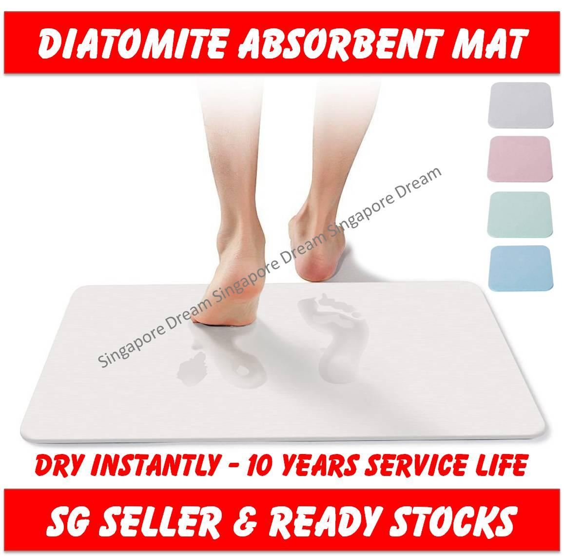 Diatomite Mat - Earth Absorbent Fast Drying Bath Floor Mat Non Slip Antibacterial For Bathroom & Shower By Singapore Dream.
