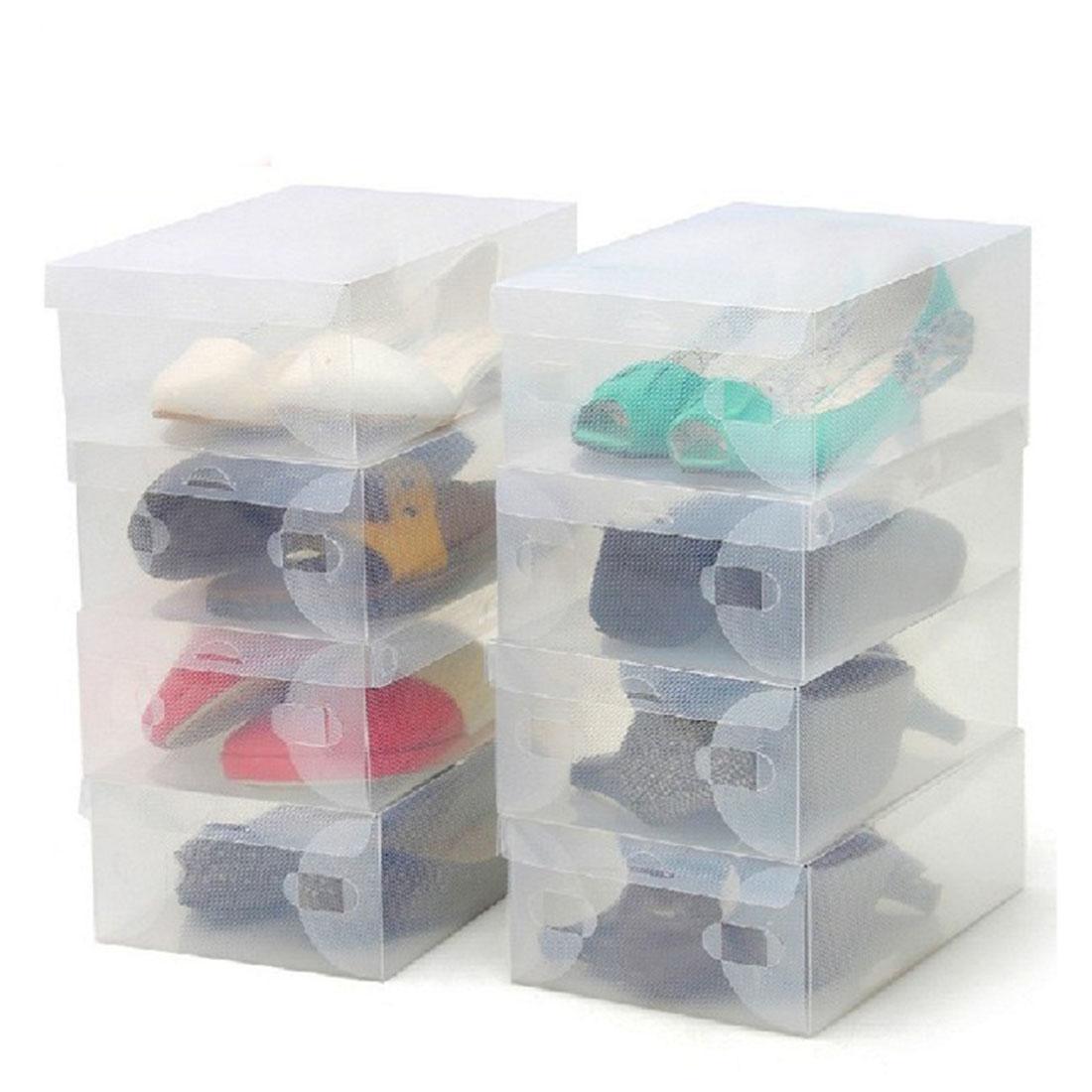 Hot New Style 10Pcs Transparent Clear Plastic Shoes Storage Boxes Foldable Shoes Toys Case Holder - intl