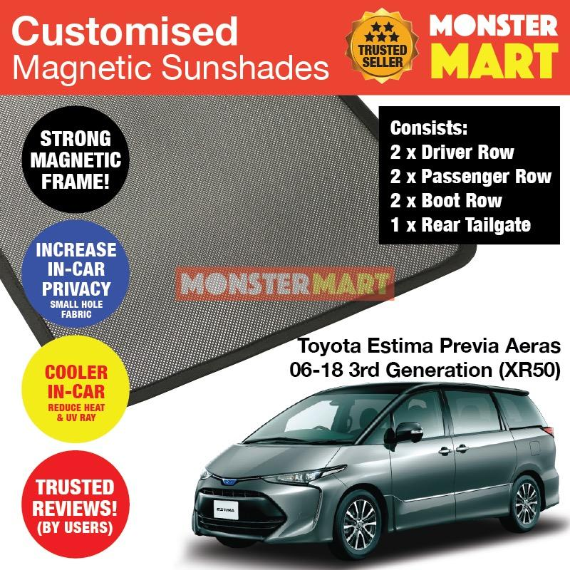 Sale Toyota Estima Previa Aeras 2006 2018 3Rd Generation Xr50 Customised Car Accessories Window Magnetic Sunshades 6 Pieces Rear Tailgate 1 Piece Singapore