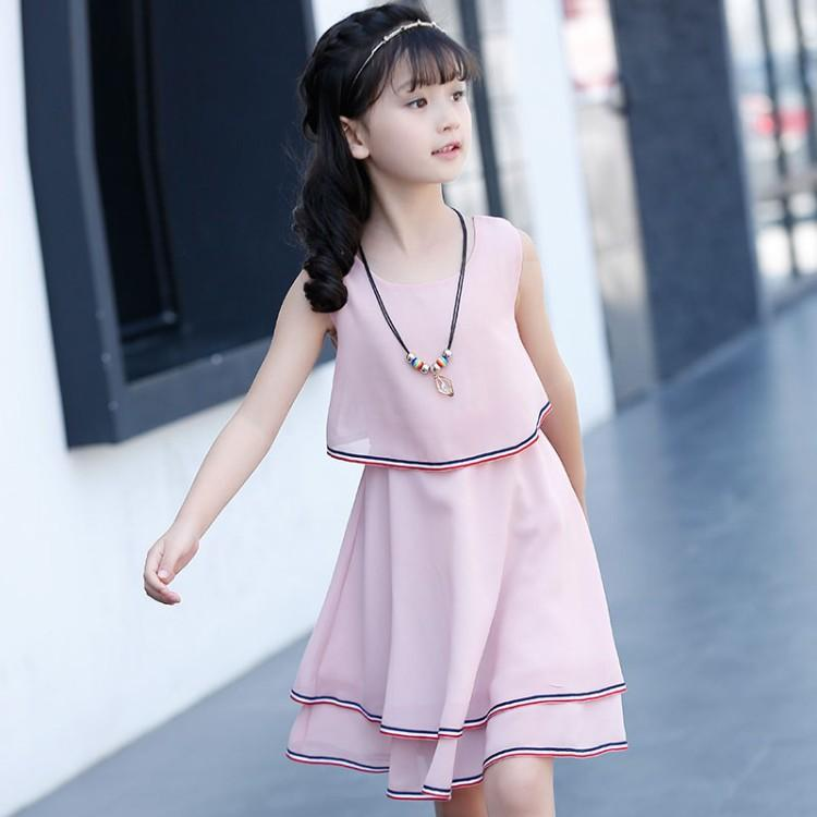c94e6243b1 Girls 2019 New Style Dress Summer Wear Medium-small Children Princess Skirt  Childrenswear Korean Style