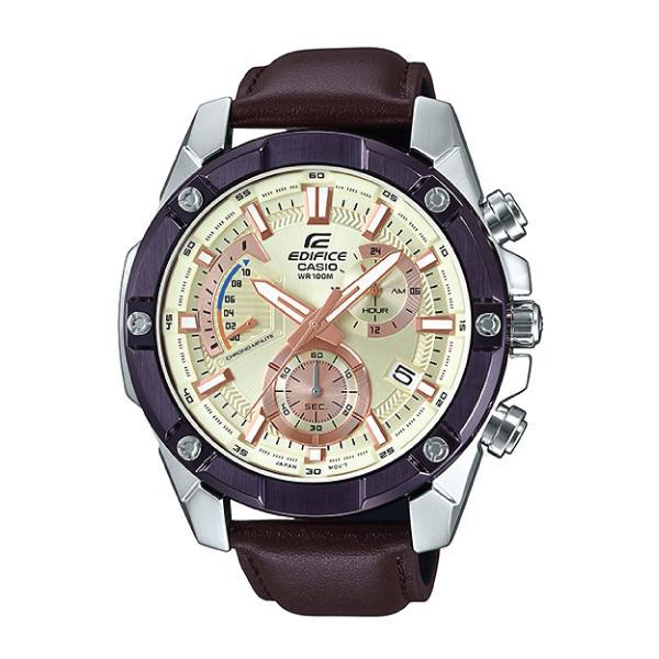 Casio Edifice Standard Chronograph Dark Brown Leather Strap Watch EFR559BL-7A EFR-559BL-7A
