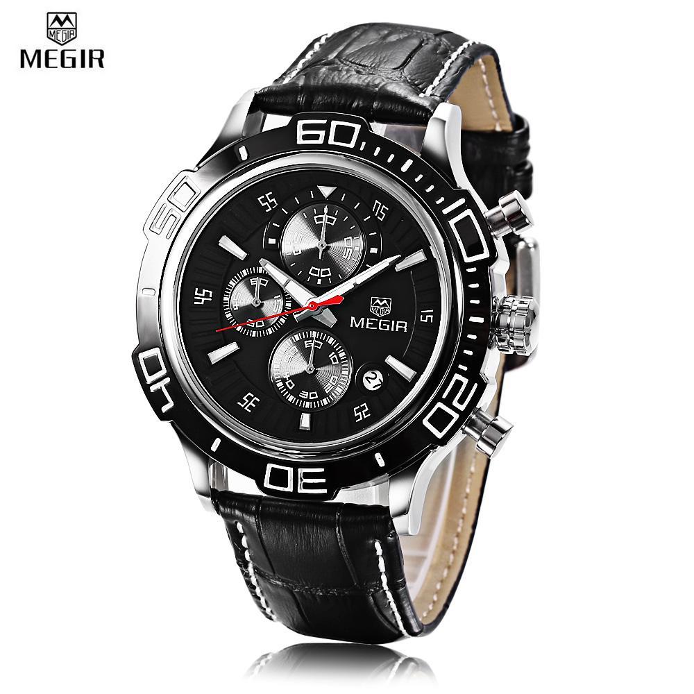 Wholesale Megir Ml2019 Male Quartz Watch Chronograph Sub Dial Calendar Men Wristwatch Intl