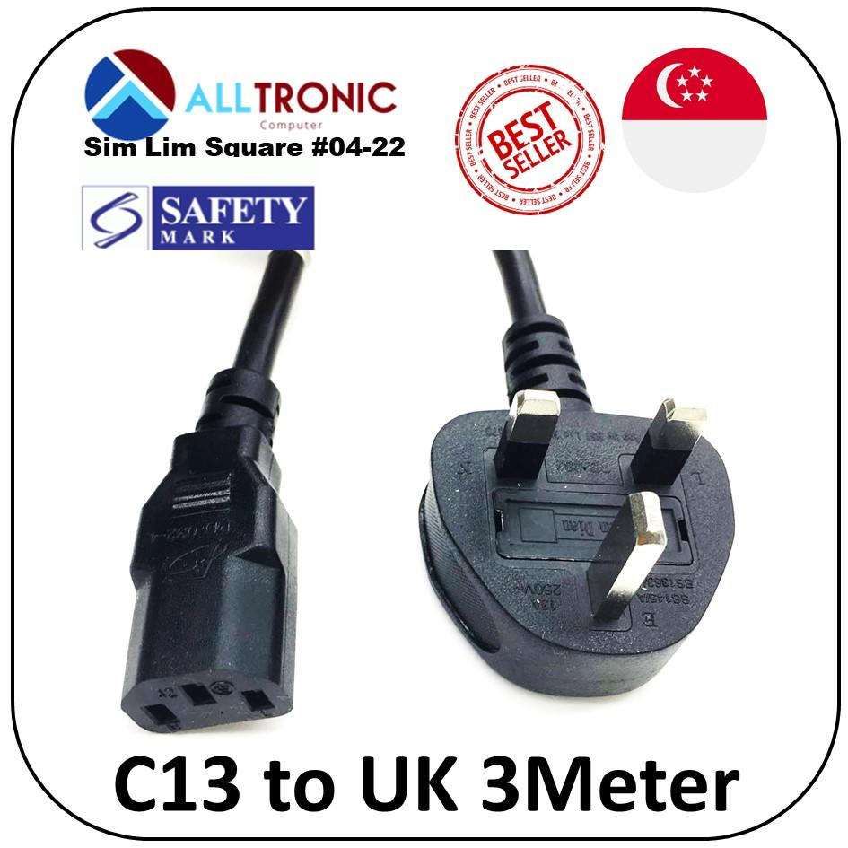 C13 to UK (3pin) Power Cable 3Meter with Safety Mark 13A fuse