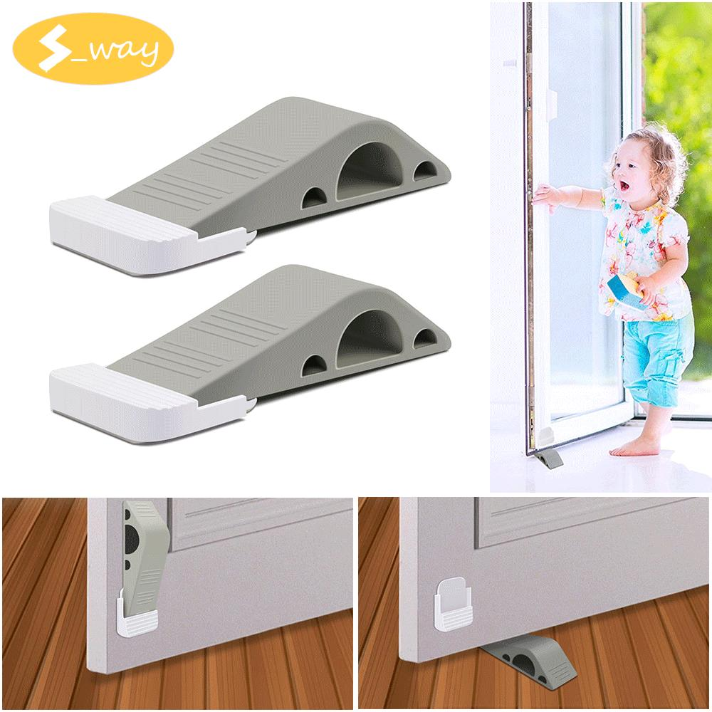 Sway 2 Pcs Gray Door Stopper Wedge Heavy Duty Premium Rubber Decorative Stoppers - Intl By S_way.