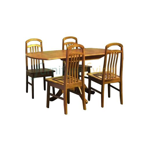 Furniture Living 1+4 / 1+6 Extendable Wooden Dining Set (Cherry)