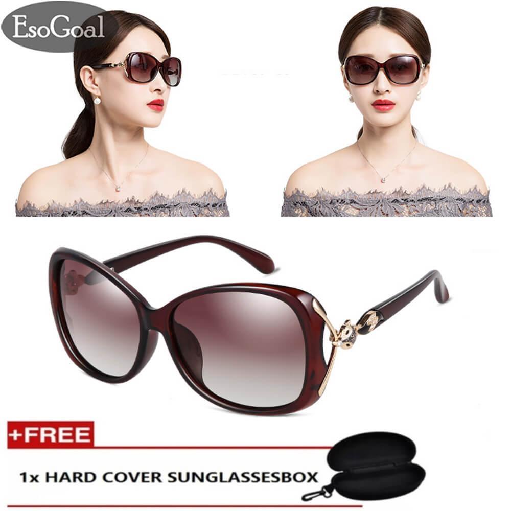 Esogoal Womens Shades Oversized Polarized Fox Sunglasses 100% Uv Protection With Free Storage Box - Intl By Esogoal.