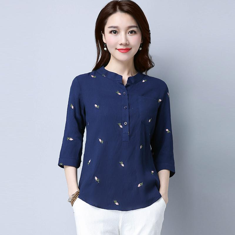 25545558f5ca29 2019 Summer Literature And Art Embroidered Cotton Linen Shirt Female Sleeve  New Style Large Size Versatile