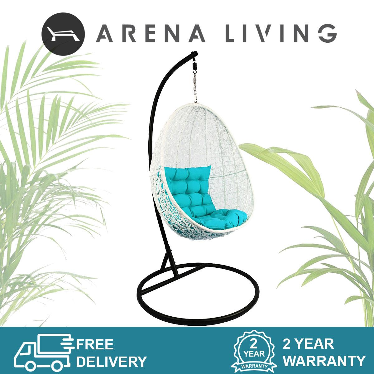 White Cocoon Swing Chair Blue Cushion, Outdoor Furniture by Arena Living