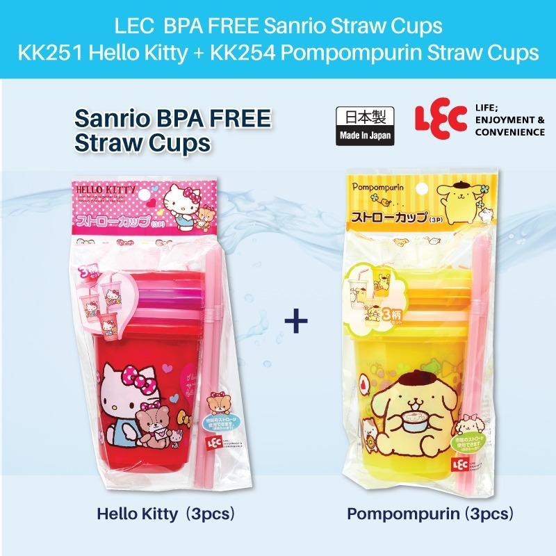 Sale Lec Sanrio Kk251 Hello Kitty 3Pcs Kk254 Pompompurin 3Pcs Straw Cups Singapore Cheap