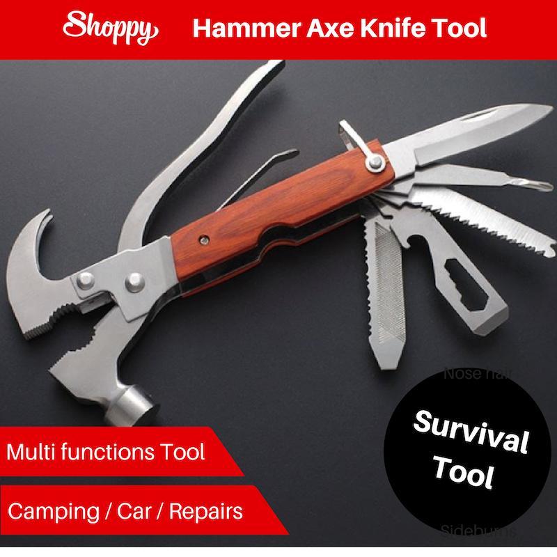 Shoppy Multi Camping Car Survival Hammer Axe Knife Tool