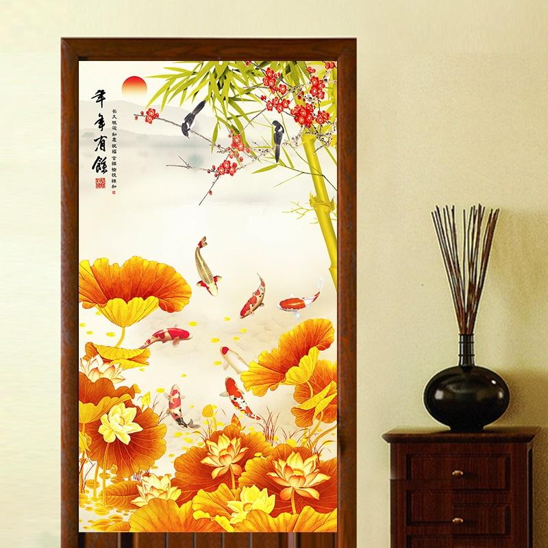 Send Rod Chinese Style Living Room Bedroom Every Year More than Fish Door Curtain Entrance Feng Shui Curtain Fabric Partition Yarn Curtain