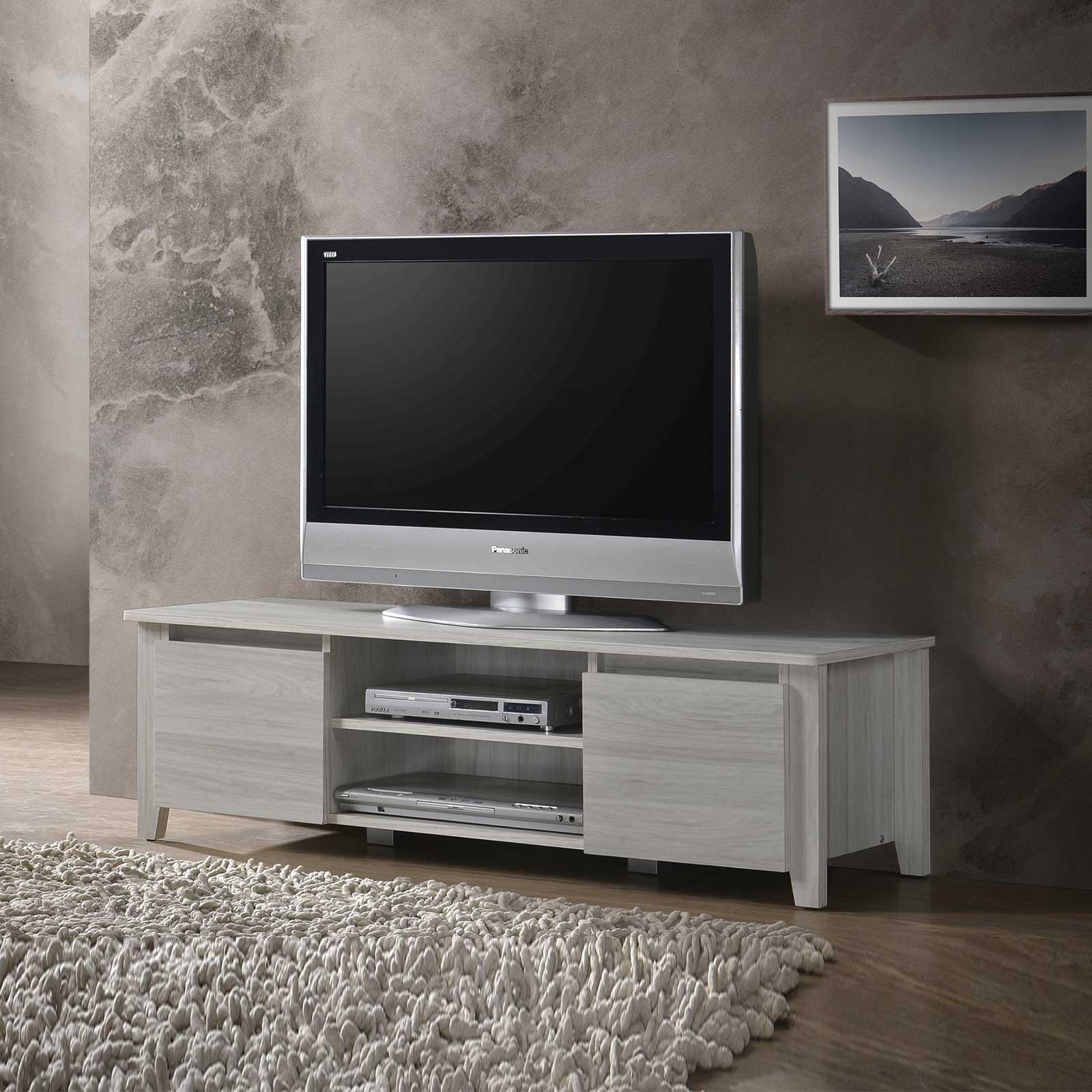 TV Console - 4ft / 1.2m in White Oak Cabinet Shelves Stand Entertainment Unit⭐E-LIVING Furniture