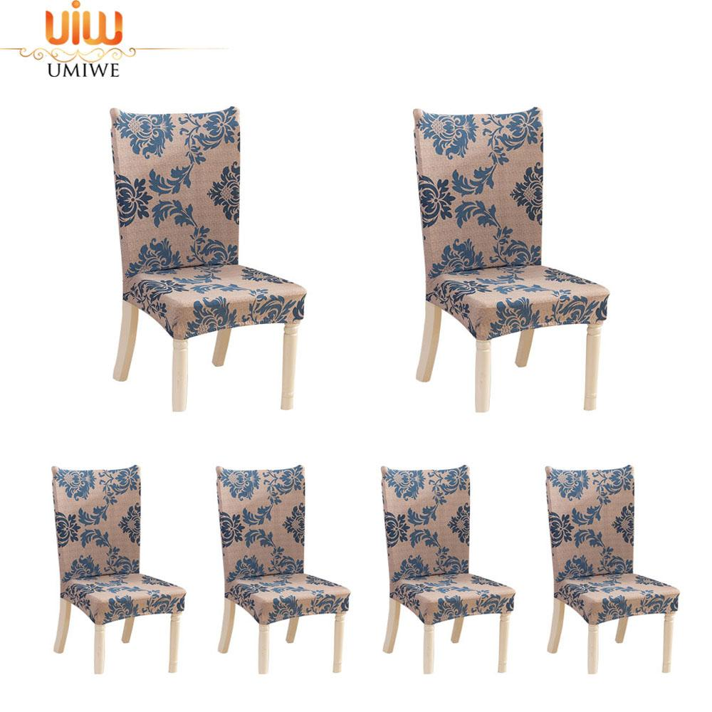 Umiwe 6 X Soulfeel Soft Spandex Fit Stretch Short Dining Room Chair Covers With Printed Pattern, Banquet Chair Seat Protector Slipcover For Home Party Hotel Wedding Ceremony - Intl By Umiwe.