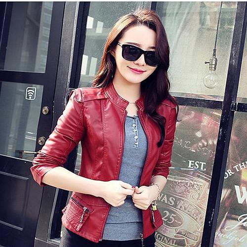 Grandwish Women Pu Leather Coat Motor Jacket Short Coat Stand Collar Slim M-2xl By Grandwish.