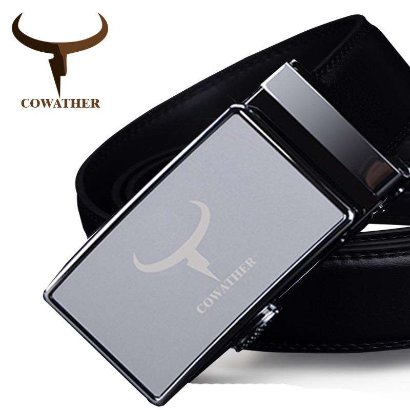 Promo Cowather Men S Belt 100 Cow Leather Dress Belts For Men Fashion Automatic Alloy Buckle Waist Belt Silver S Xxl Intl