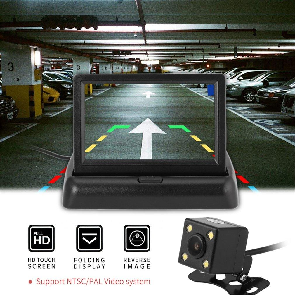 ELEC Car Reversing Assistance Kit with Folding Monitor + 4 LED Rear View Camera