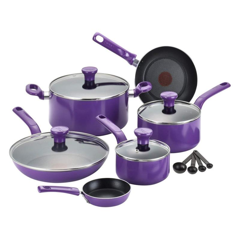 T-fal Excite Nonstick Thermo-Spot Dishwasher Safe Oven Safe PFOA Free Cookware Set, 14-Piece, Purple Singapore