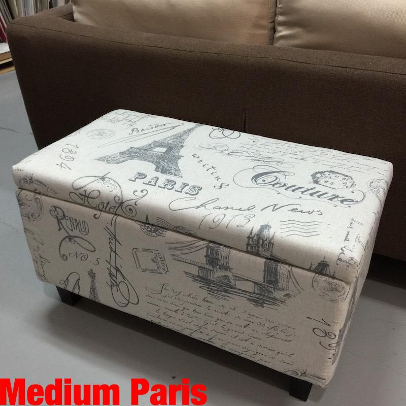 UMD Storage Ottoman Storage Stool with Paris Design and Removable Cover (Refer to color family option for size choice)