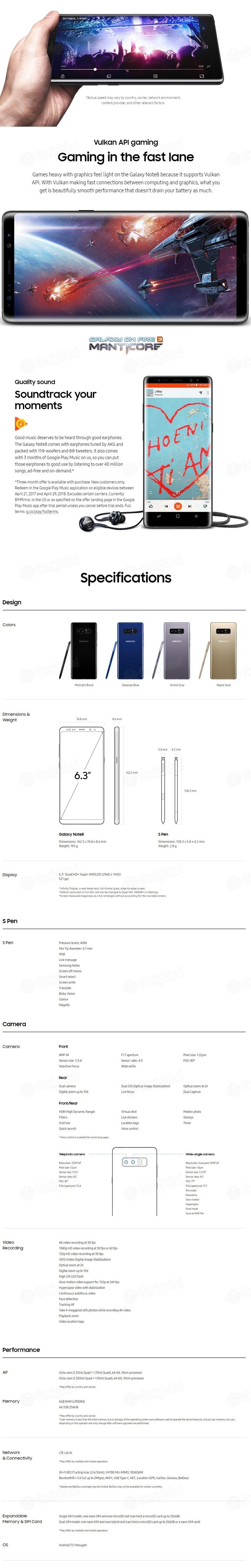 SAMSUNG Galaxy Note 8 /256GB/SM-N950/ Black Brand new original/Made in  Korea - intl