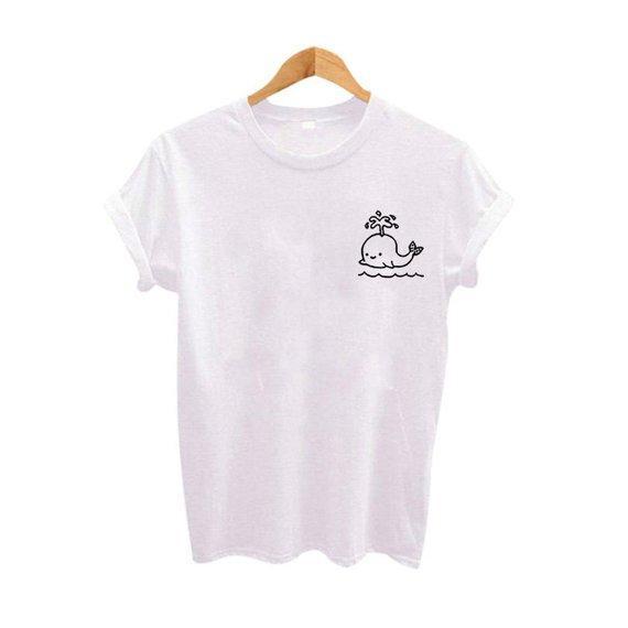 61ff3aa2d6 Whale Cute Design Korean Style Tee Tshirt Unisex Simple